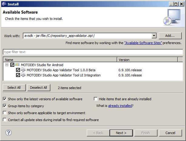 Installing App Validator SDK into Eclipse Classic